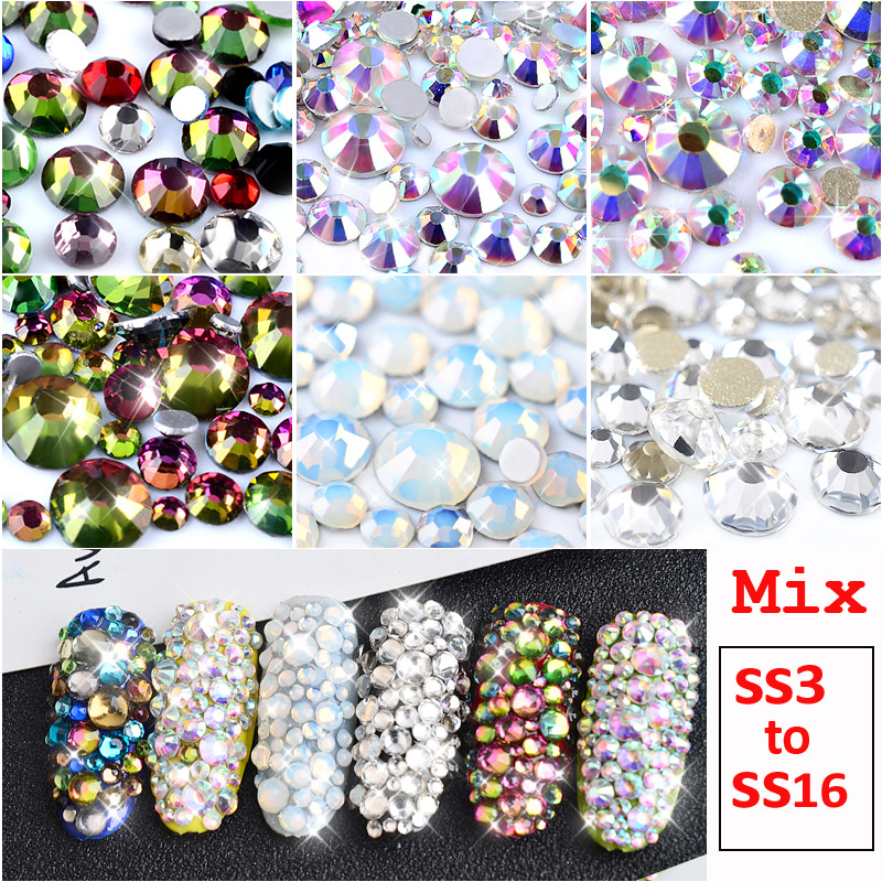 1 Pack Mix SS3-SS16 Crystal Clear AB Opal White Non Hotfix Flatback Nail Rhinestones 3D Charm Strass Gems Nail Art Decorations ccbling super shiny ss3 ss40 bag clear crystal ab color 3d non hotfix flatback nail art decorations flatback rhinestones