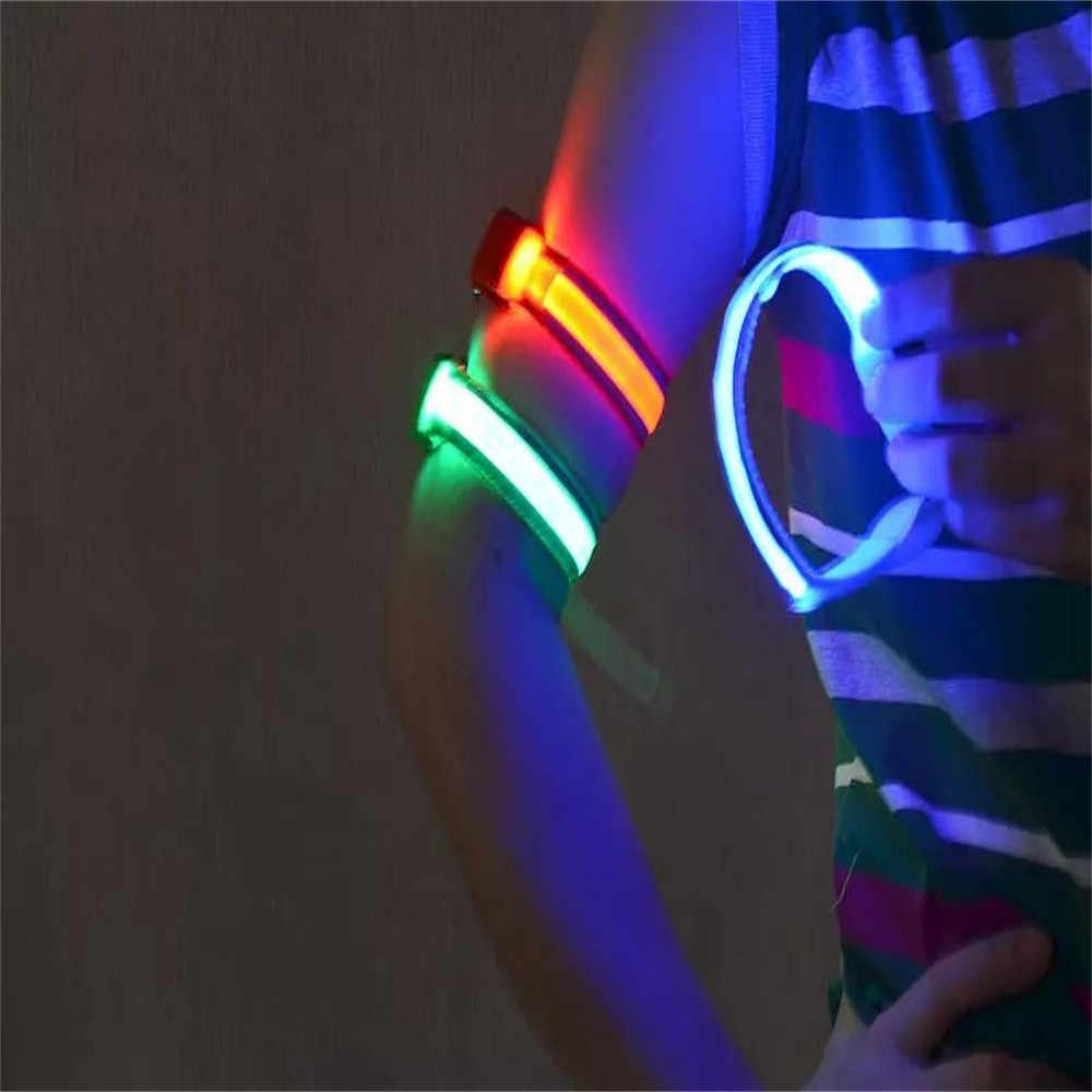 Led luz reflexiva braço braçadeira cinta cinto de segurança para a noite correndo ciclismo mão pulseira pulseiras de pulso dropship 1.39