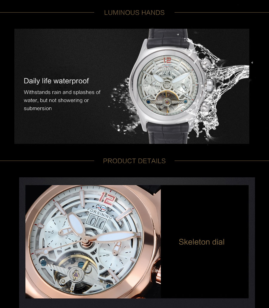 Forsining Convex Glass Stylish Tourbillion 3D Genuine Leather Strap Mens Watches Top Automatic Watch Clock (5)