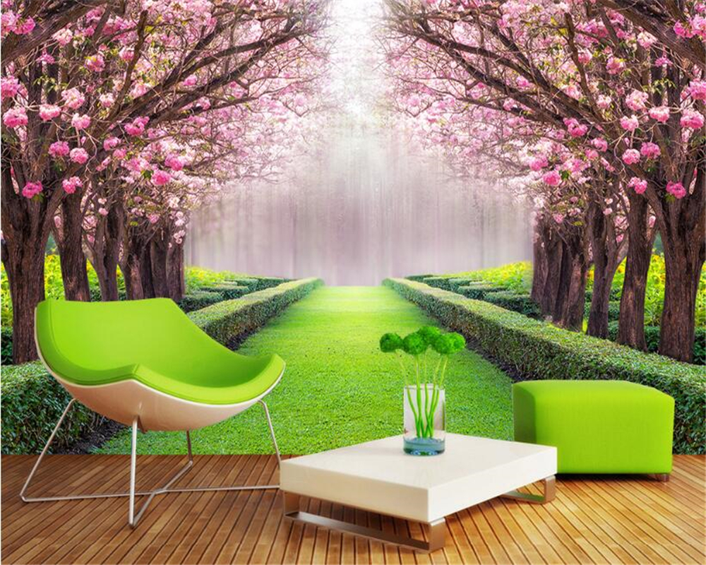 Beibehang Home Furnishing Indoor 3d Wallpaper Fashion Modern Outdoor Park Flowers Lined Trail Stereo Background Papel De Parede