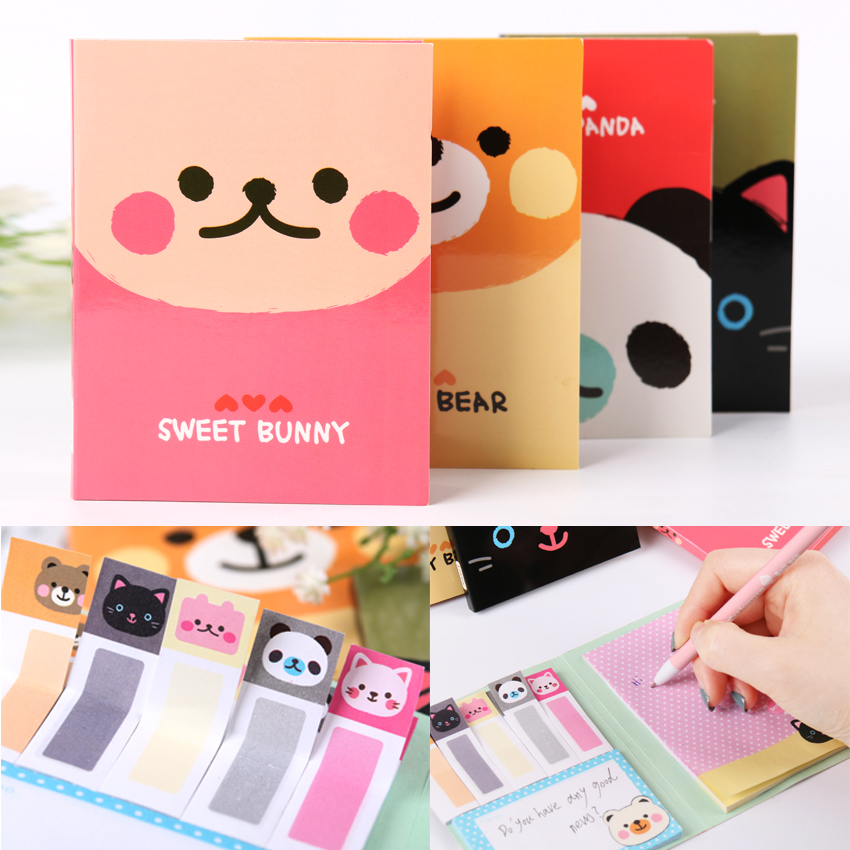 1PC Kawaii Animal Cartoon Stationery A6 Size Memo Pad Sticky Notes N Times Stickers Papeleria Memo School Stationery
