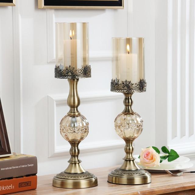 Decoración Elegante Para El Hogar Decoración De Velas Cristal Manualidades Del Candelabro Metal Juego 2 Grande Pequeño