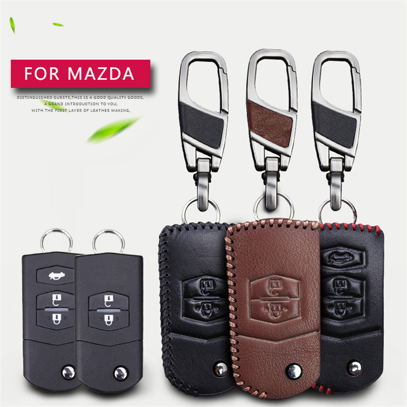 Genuine Cow Leather Men Women Car Key Holder Cover Bag Key Case Chain For Mazda 3 6 CX5 CX7 323 626 Familia Key Case Funda Llave