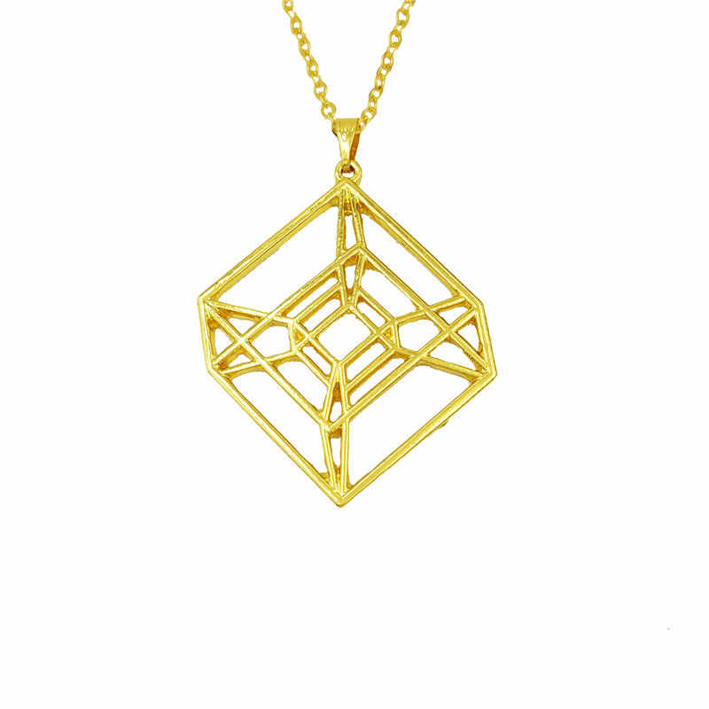 drop shipping Fashion Hypercube Sacred Geometric necklace for women Tesseract gold silver necklace jewelery 4D cube necklace