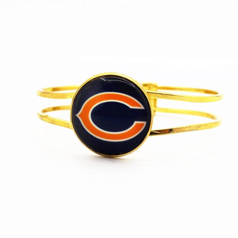 Лидер продаж, 6 шт. серебряный браслет сплава Chicago Bears Футбол Спортивная команда плавающие прелести подходят мужские и женские браслеты ювел...
