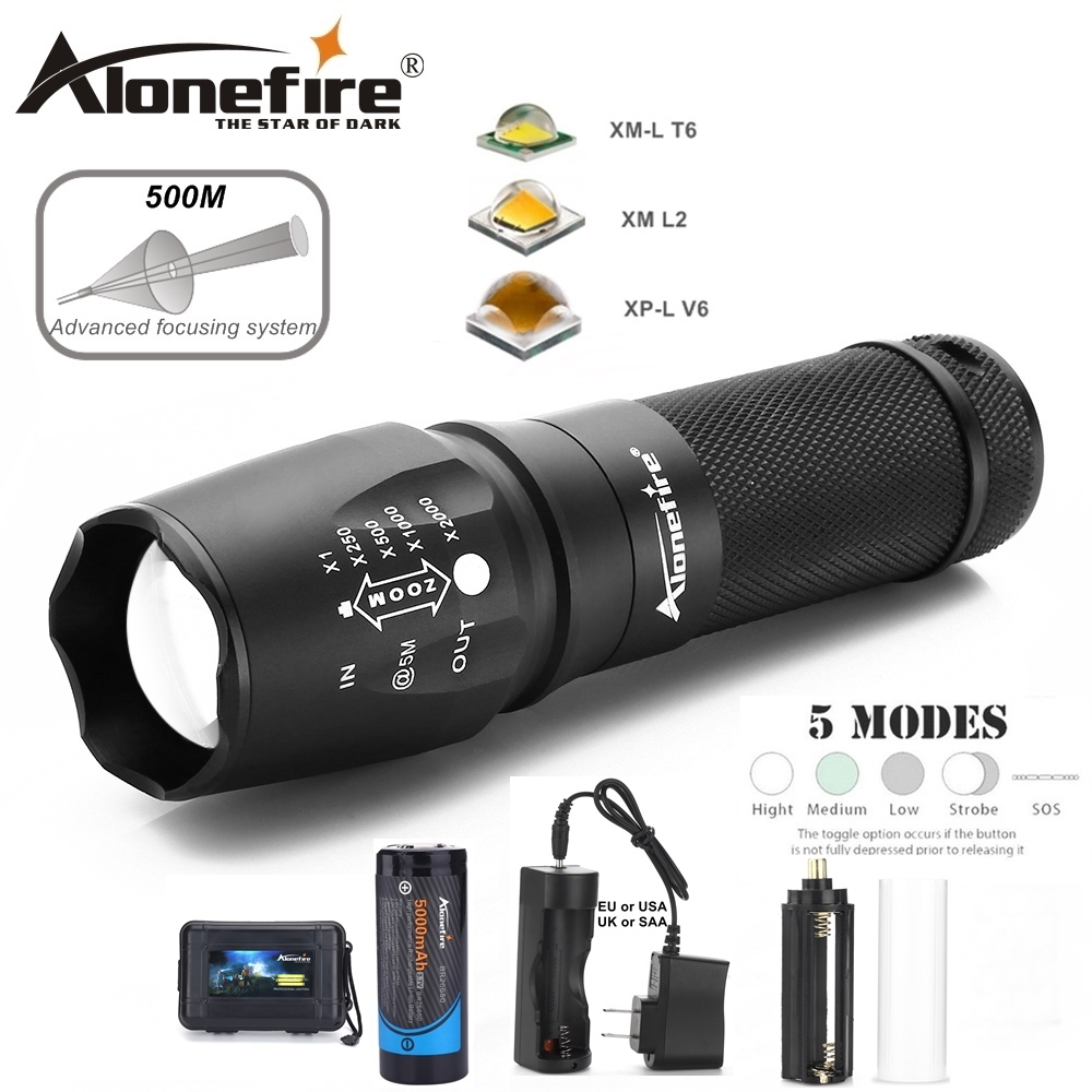 AloneFire X800 Tactical Flashlight CREE XML T6 L2 U3 LED Zoom flood light hike lantern Torch lamp AAA 26650 Rechargeable Battery sitemap 27 xml