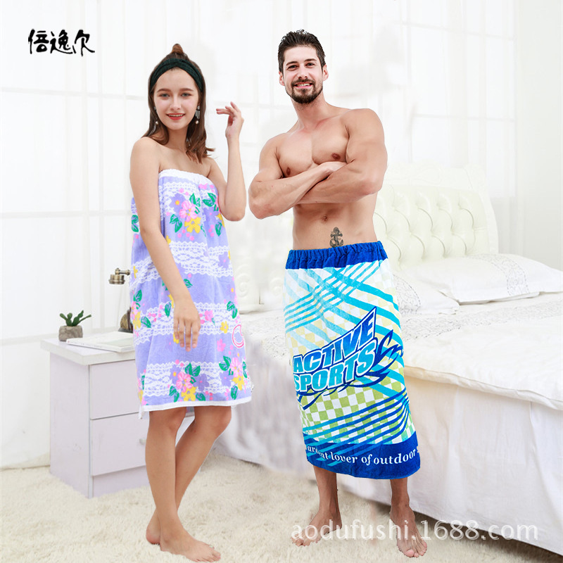 Wholesale cotton towel cloth bathrobe towel wear active printing soft water absorption o ...