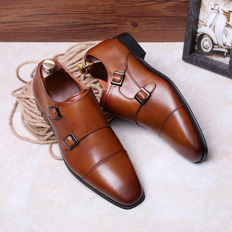 Desai marca de luxo couro genuíno dos homens sapatos oxford apontou toe sapatos vestido masculino com fivela dupla sapatos de casamento