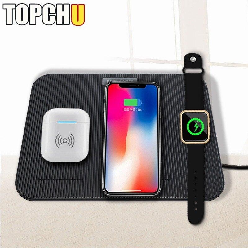 10 W Qi Sans Fil chargeur pour iphone 8 X XS Max Rapide chargeur sans fil pour Apple je Montre 1 2 3 4 USB chargeur pour samsung S9 S8