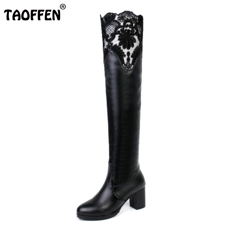 Women New Round Toe Over Knee Boots Fashion Sexy Lace Botas Feminine High Quality Thick Heel Shoes Footwear Size 33-43 qiu dong in fashionable boots sexy and comfortable women s shoes the new national style high heel heel thick heel