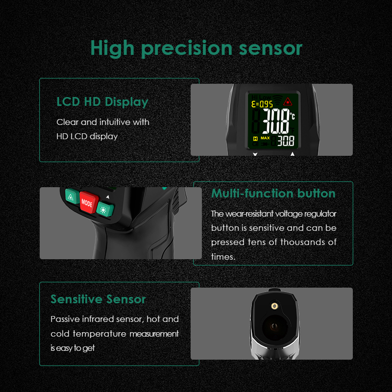 Image 4 - Non Contact thermometer Digital Infrared Thermometer Non Contact  Temperature Gun Laser Handheld IR Temp Gun Colorful LCD  DisplayTemperature Instruments   -