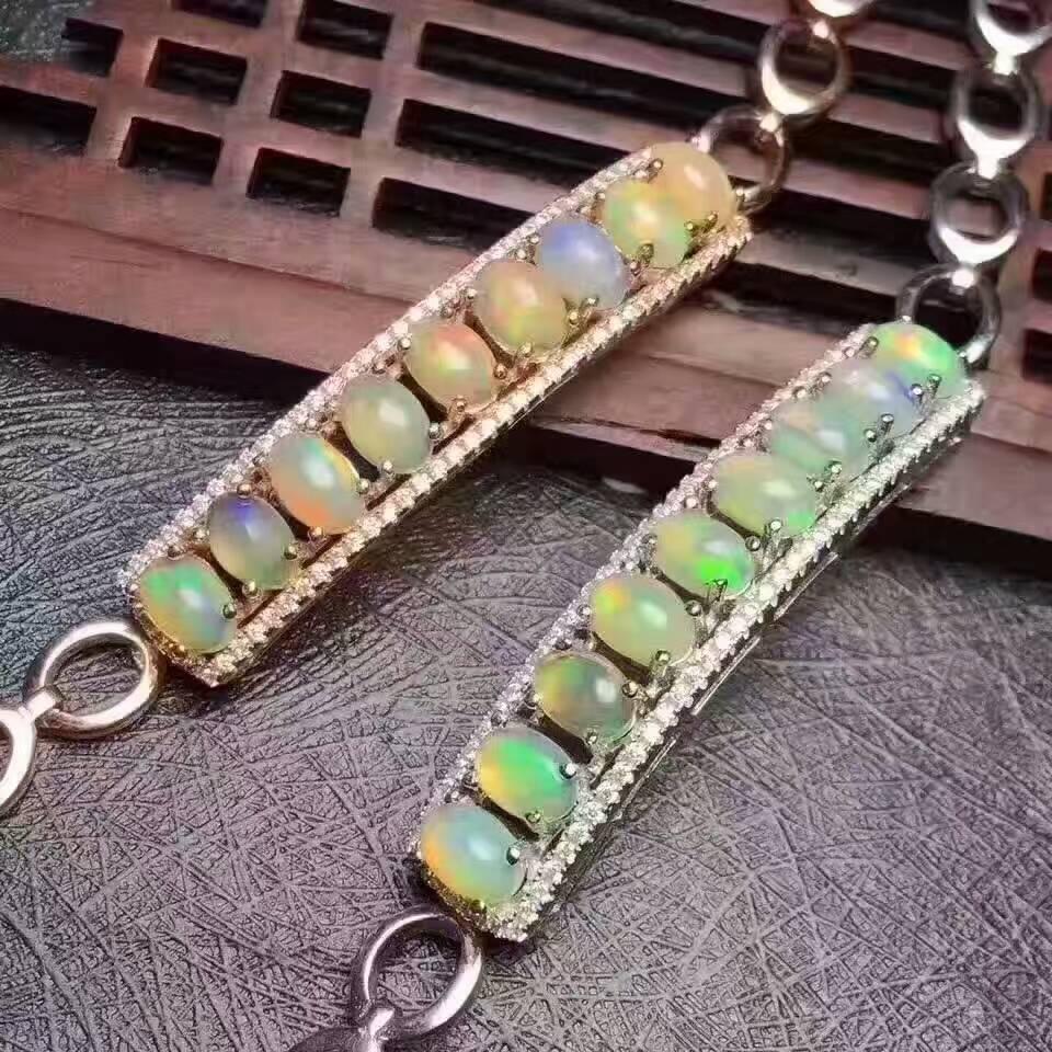Natural multicolor opal Bracelet Natural gemstone Bracelet S925 silver bracelet luxurious Elegant row block women party