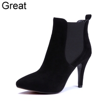 2015 New Arrival Genuine Leather Black Fashion High Heel Womens Girl Spring Autumn Ankle Boots X1212