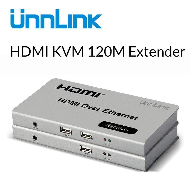 Unnlink 120M HDMI Ethernet Extender Splitter HDMI KVM Extension LAN RJ45 Cat5E 6 Network Extension FHD