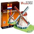 CubicFun 3D puzzle DIY toy birthday gift paper model mini Holland windmill Netherlands building world's great architecture C089H