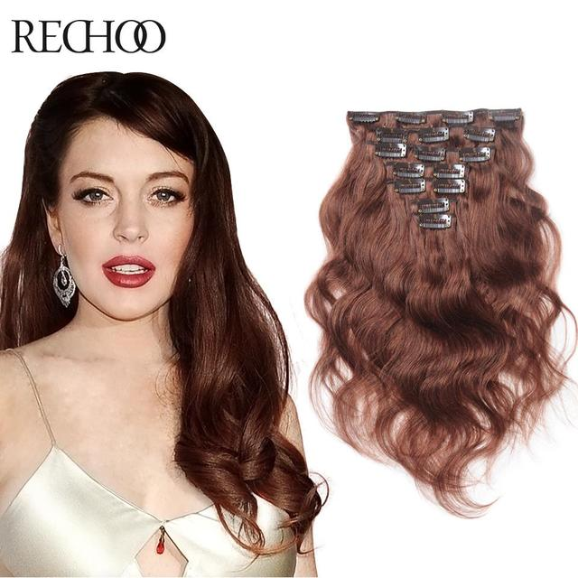 Brazilian Clip In Human Hair Extensions Body Wave Color 33 7 Piece