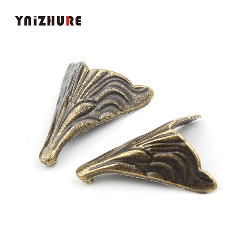 YNIZHURE 25*20mm 8PCS Antique Corner Protectors,Bronze Tone,Case Box Corners For Furniture Decoration Feet Metal Craft Corner