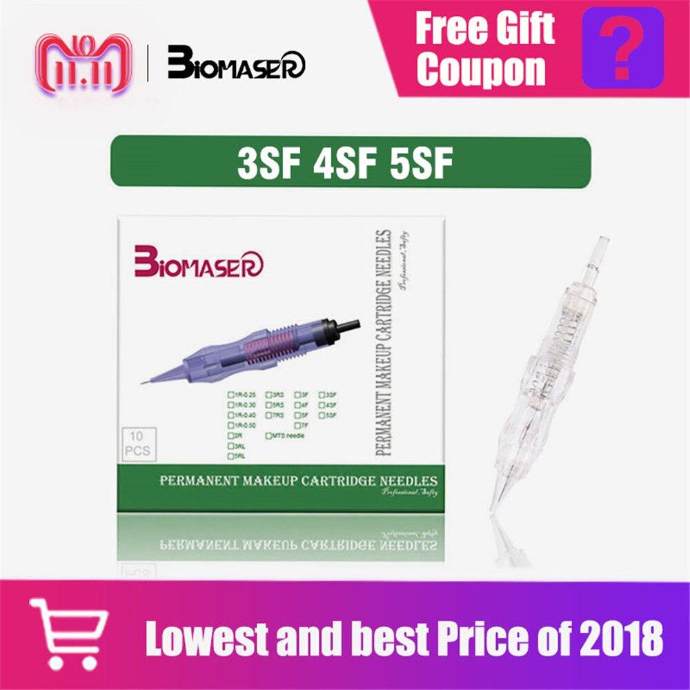 купить Biomaser Permanent makeup needles 3SF 4SF 5SF Slope Microblading Tattoo Needle for Eyebrow lip Makeup Pen Machine Needles Tips по цене 490.54 рублей