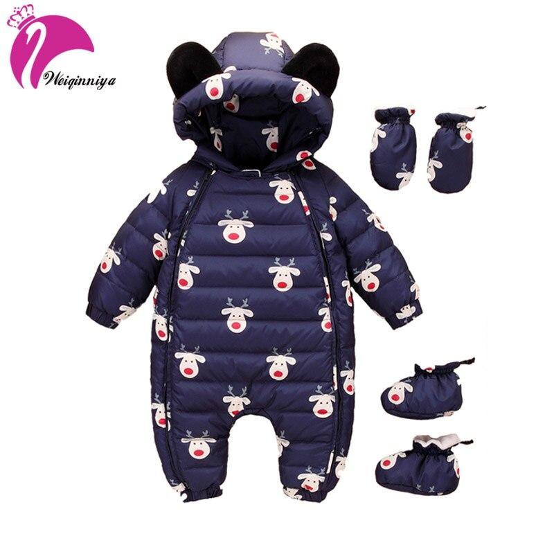 New 2017 Unisex Baby Snowsuit Down Coat Romper Newborn Snowsuit Snow Wear Coveralls Coats Outwear Winter