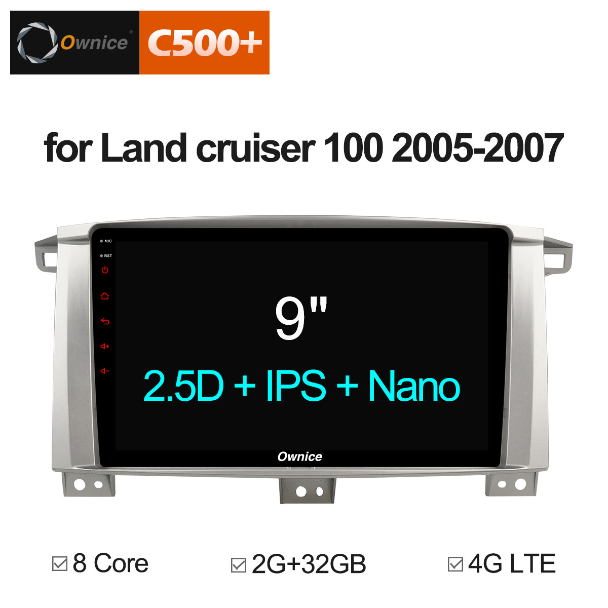 Ownice C500 + G10 Android 8,1 автомобильный DVD стерео для Toyota Land Cruiser 100 LC100/Lexus LX470 2005 2007 Авто Радио RDS Navi 4G