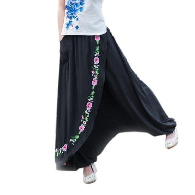 Bordado vestido de calças mulheres calças de algodão de linho preto Harem Pants Plus Size solto flores largas calças de pernas longas Sweatpants