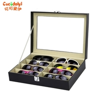 8 Slots Eyeglasses Sunglasses Faux Leather Storage Organizer Display Case Box