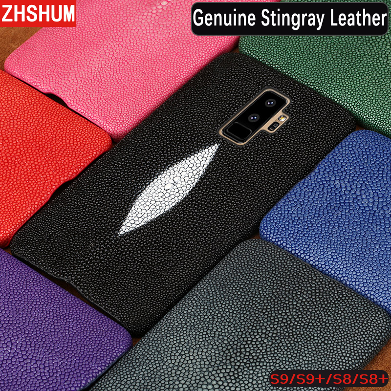 Handmade Genuine Stingray Leather Case For Samsung Galaxy S9 Plus S8 Note 8 9 Customize Skin