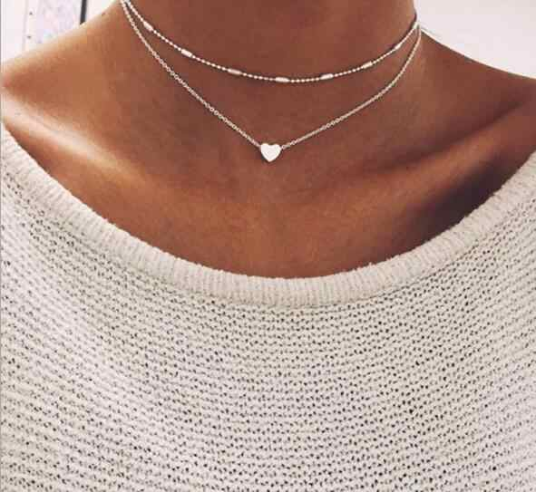 Seblasy Simple Style Multi-Layer Leaves Infinity Hamsa Hand Heart Crystal Chain Necklaces & Pendants for Women Birthday Gifts