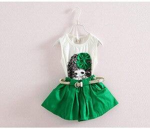 Image 2 - Летняя одежда для маленьких девочек, детский жилет, шорты, два комплекта ремней, детская одежда