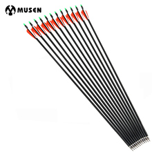 6/12/24pcs Spine 500 Carbon Arrow With Replaceable Arrowhead 30 Inches Length Archery for Compound/Recurve Bow Hunting