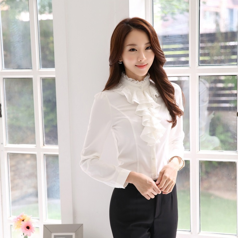 Spring Fall FashionWomen Blouses & Shirts Ruffles Long Sleeve White 2015 Ladies Office Uniform OL Work Clothes - Kidmall Online Store store