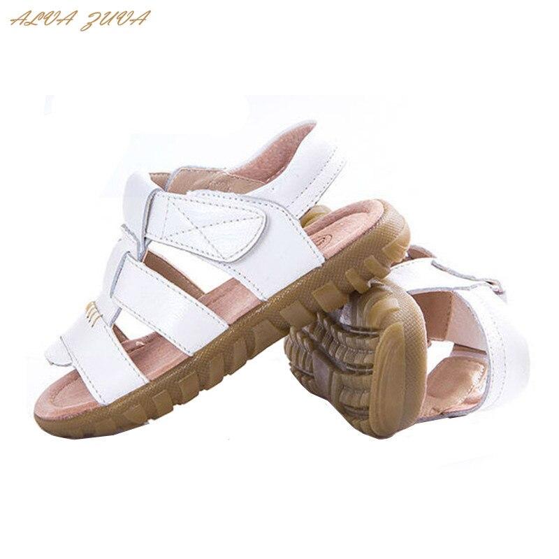 Hot sale! 2018 Summer Children Sandals Fashion Casual Kids Genuine Leather Beach Sandals Shoes Boys Girls Size 21-36 Clj012