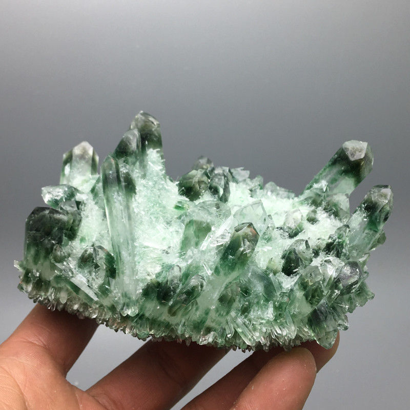 BEST!! Rare New NATURAL Green Ghost Quartz Crystal Cluster Aura Quartz Crystal Titanium Bismuth Silicon Specimen