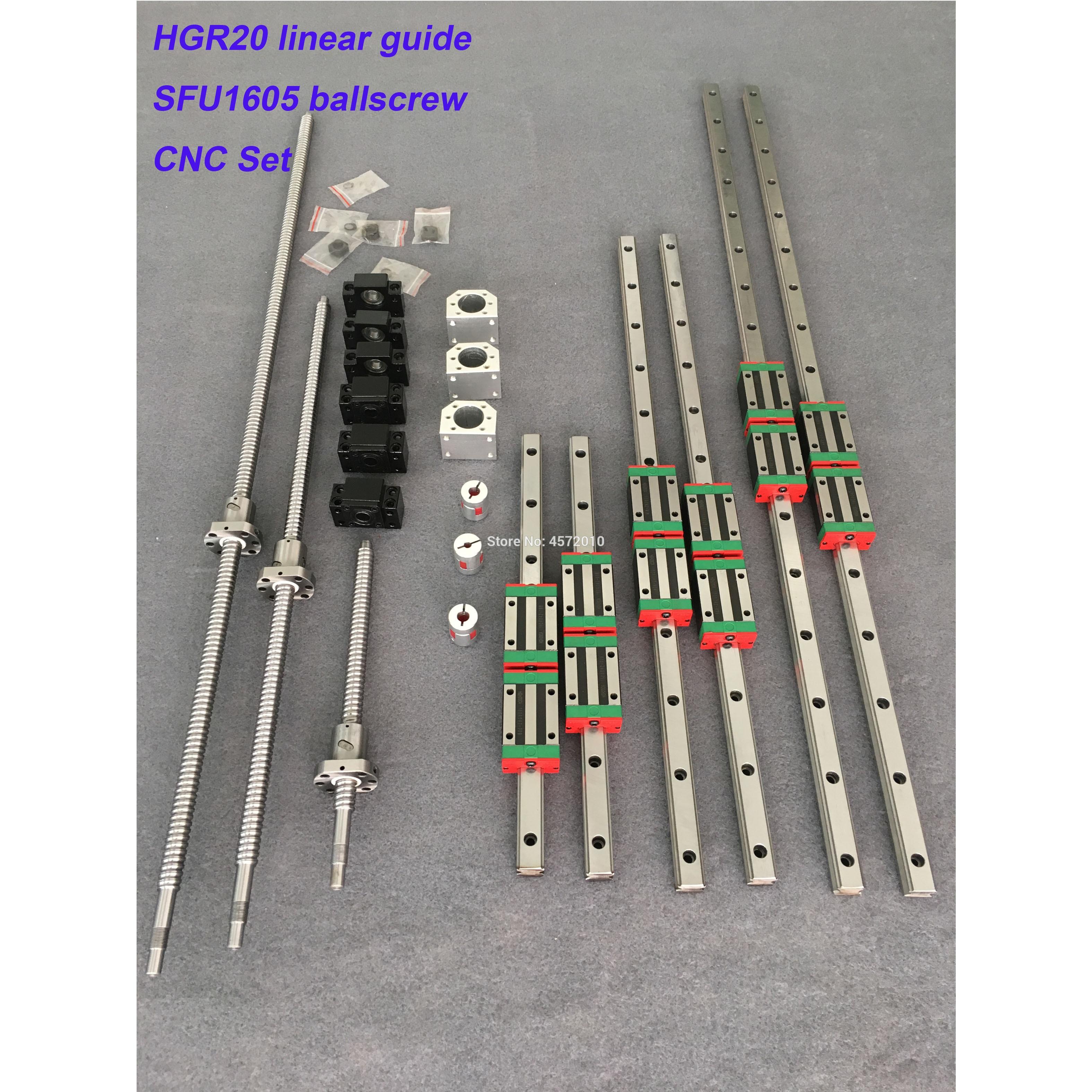 Conjunto cnc hgr20 quadrados conjuntos de guia linear 12 pçs hgh20ca + sfu605/1610 1605 parafuso da esfera bk bf12 habitação acoplamento para kit motor do eixo