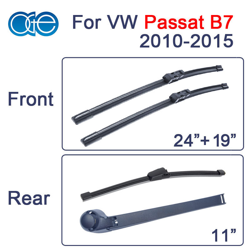 For VW Passat B7 Front Rear Wiper Arm And Blade Set Car Windscreen Natural Rubber Windshield Brush 2010-2015 Combo/Set/Pair