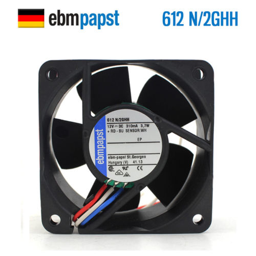 For Ebmpapst 612N/2GHH 6025 12V 0.31A Axial Fan Cooling Fan sanyo 9wf0624h404 6025 24v 0 15a waterproof axial cooling fan