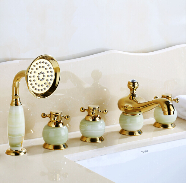 New arrival brass gold and jade 5 pcs Deck Mounted bathroom bathtub faucet set with shower