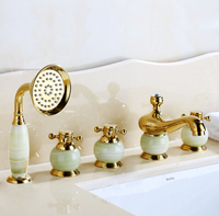 New arrival brass gold and jade 5 pcs Deck Mounted bathroom bathtub faucet set with shower head Tub Filler Faucet Mixer Taps