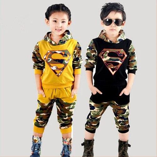 Новый Супермен Мальчики Девочки Комплектов Одежды Весна Осень Дети Камуфляж Толстовки + Брюки 2 шт. Мальчики Спортивный Костюм Детская Одежда для 2-6 Т