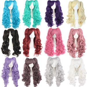 Image 3 - MapofBeauty Long Wavy Cosplay Wigs Pink Black Brown Blue White 19 Color 2 Ponytail Shape Claw Heat Resistant Synthetic Hair