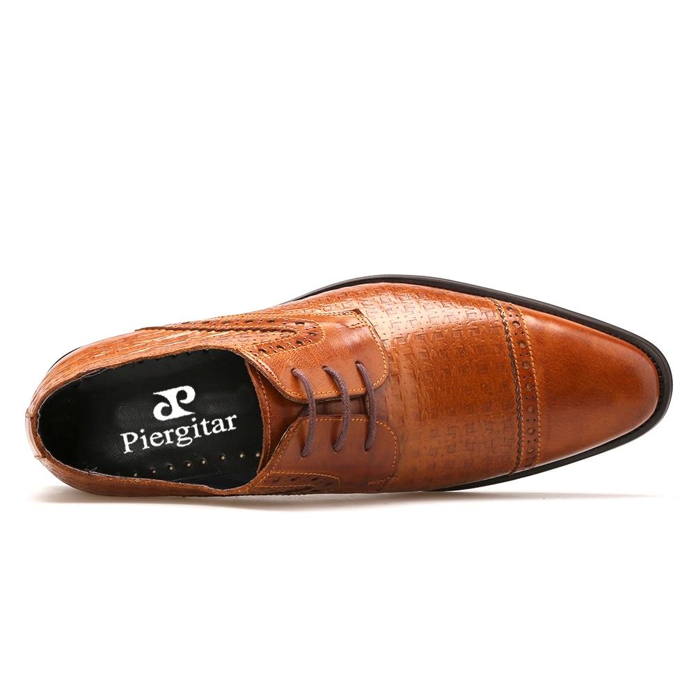 Мужская обувь из натуральной кожи коричневого цвета; коллекция 2018 года; повседневная мужская обувь в итальянском стиле; модельные туфли для... - 5