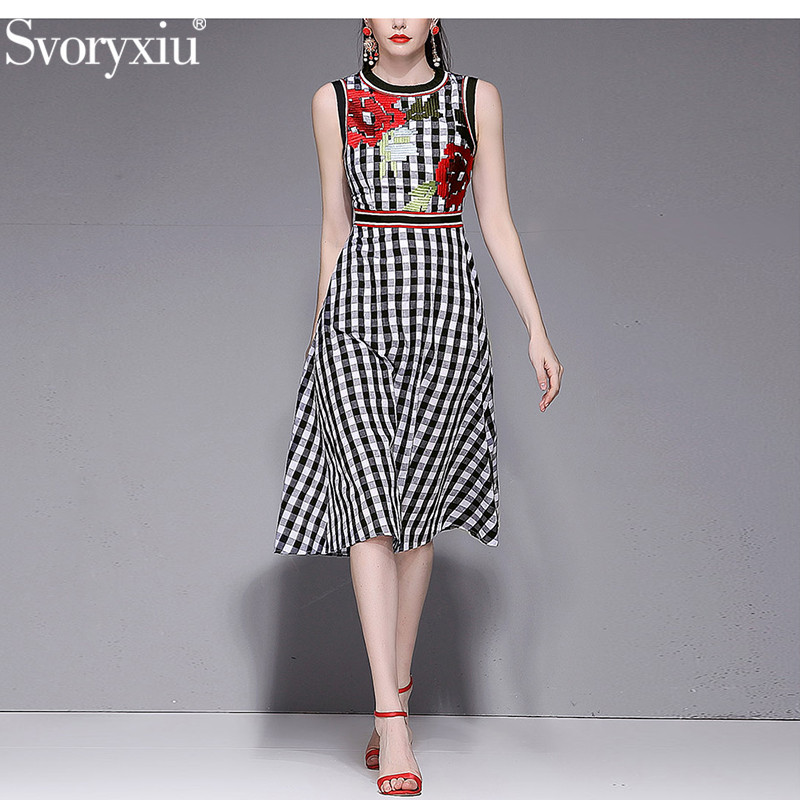 Svoryxiu Designer Summer Cotton Tank Dress Women s High Quality Embroidery Black White Plaid Print Fashion