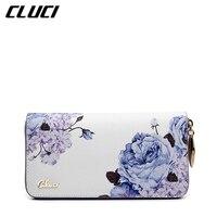 CLUCI נשים הארנק ארוך ארנק האופנה הסגנון הלאומי פרחי הדפסת שחור/לבן/אדום אלגנטי ארנק ארנקים ארגונית ליידי