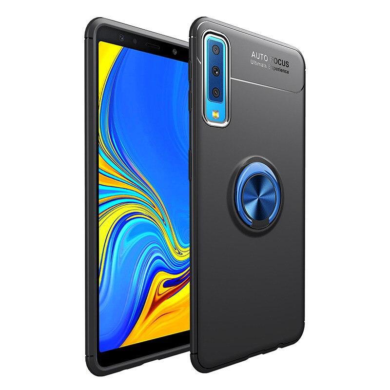MAKAVO Pour Samsung Galaxy A7 2018 Cas A750 Doigt Anneau Titulaire Souple En Silicone Couverture Arrière Pour Samsung A7 2018 SM-A750 téléphone Cas