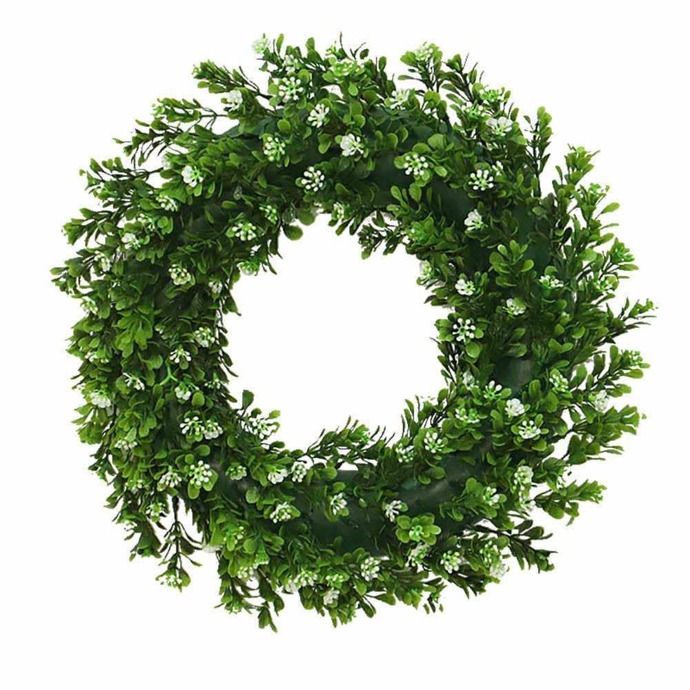 Круглый венок искусственный венок зеленые листья для двери стены окна Рождественский Декор