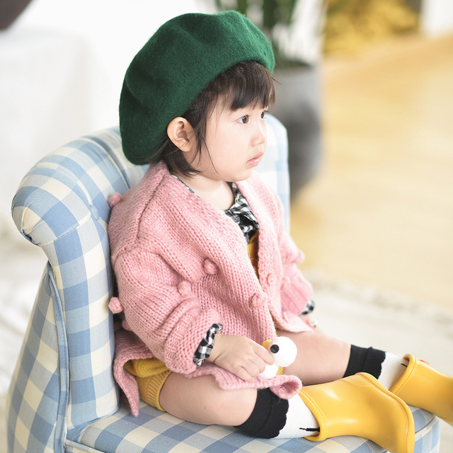 1-3 Years Old Baby Girl Sweater Child 17 Winter Ball In Hand Down Sweater Cardigan Jacket Cardigan For Girl Girls Cardigan 2