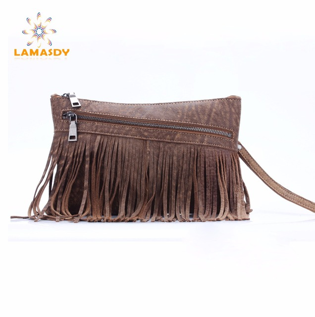 women fringe day clutches bag genuine leather high quality female messenger bags with tassel purses and handbags
