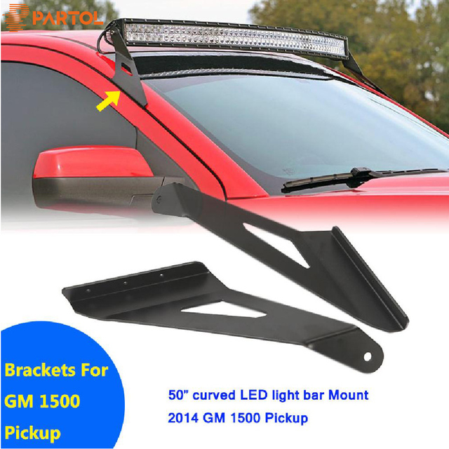 Partol Upper Windshield Mount Brackets 50 Curved Led Work Light Bar Car Roof Mounts Kit For Chevrolet Silverado Gmc 1500 Pickup
