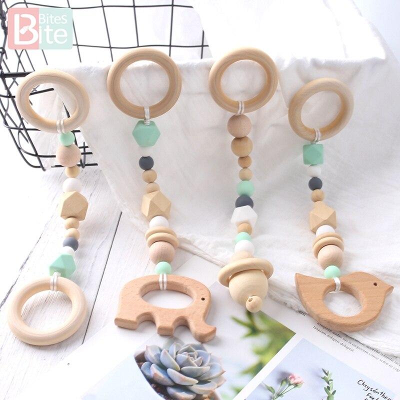 Morsure morsure 1 set/4 pc bébé hochet en bois bébé jouet Mobile jouer Gym suspendus jouets nouveau-né enfants jouets éducatifs berceau hochet