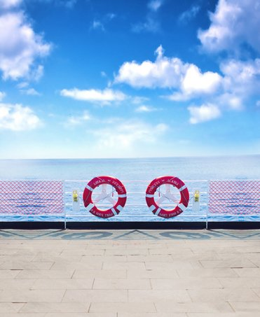 Blue Sky And White Clouds Cruise Ship Deck Ocean backdrops Vinyl cloth Computer printed wall photography studio background